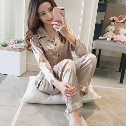 EY /_ Femme En Satin Femme Pyjama Set Nightwear pyjama à manches longues Nightwear Stri
