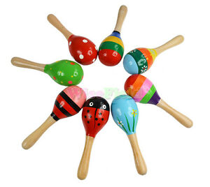 Baby-Children-Wooden-Maracas-Rattle-Musical-Instrument-Shaker-Toys-Colorful