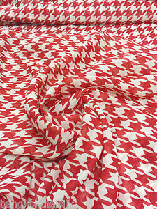 Ivory-RED-Print-Houndstooth-Chiffon-Fabric-60-034-W-BTY-Drape-Craft-Tablecloth