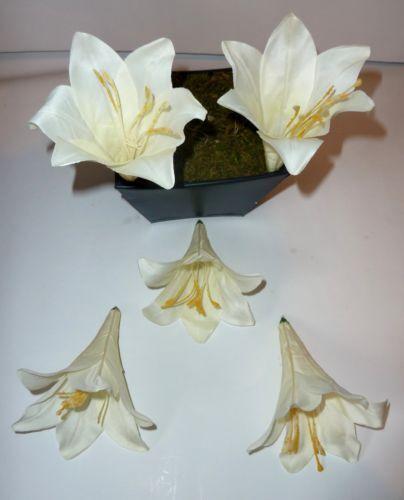 Lilien  Trompetenlilie  Kunstblumen Seidenblumen 10  x Lilie creme Blütenköpfe