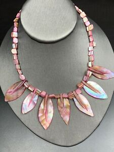 """Necklace Bohemian Mother Of Pearl Flower Blister Pearl Strand Necklace 16"""""""