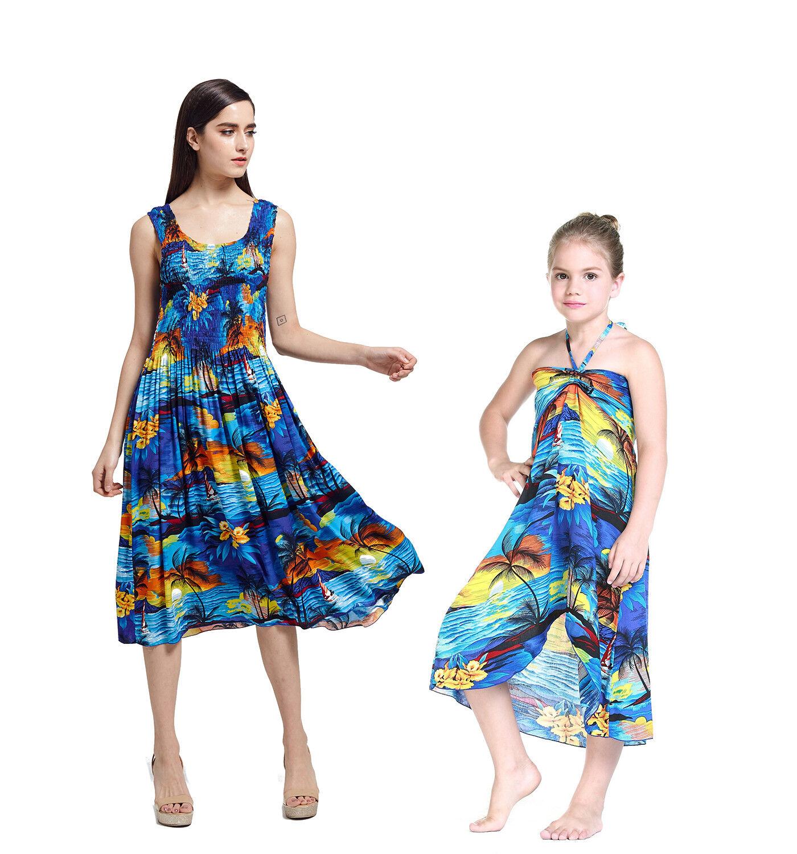 Mother and Daughter matching Hawaiian Dress Cruise Beach Short in Sunset Blue