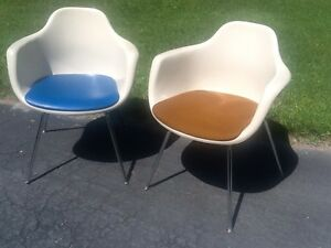 Genial Details About Vtg Pair Mid Century 1960s Krueger Fiberglass Shell Chairs    Great Look   Nice