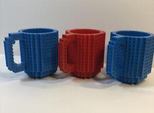 Lego Bricks-Mug Building Coffee Cup 12 oz Red and Blue Mugs Lot Of 3