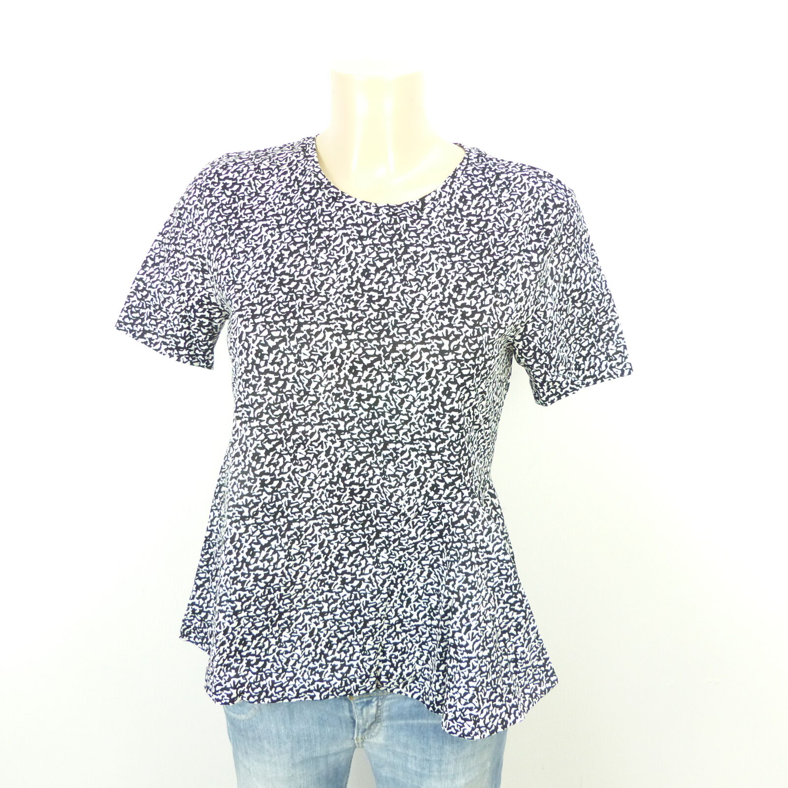 DGoldTHEE SCHUMACHER T-Shirt Schößchen Schwarz Weiß Kurzarm Gr. 1 DE 34 (AB303)