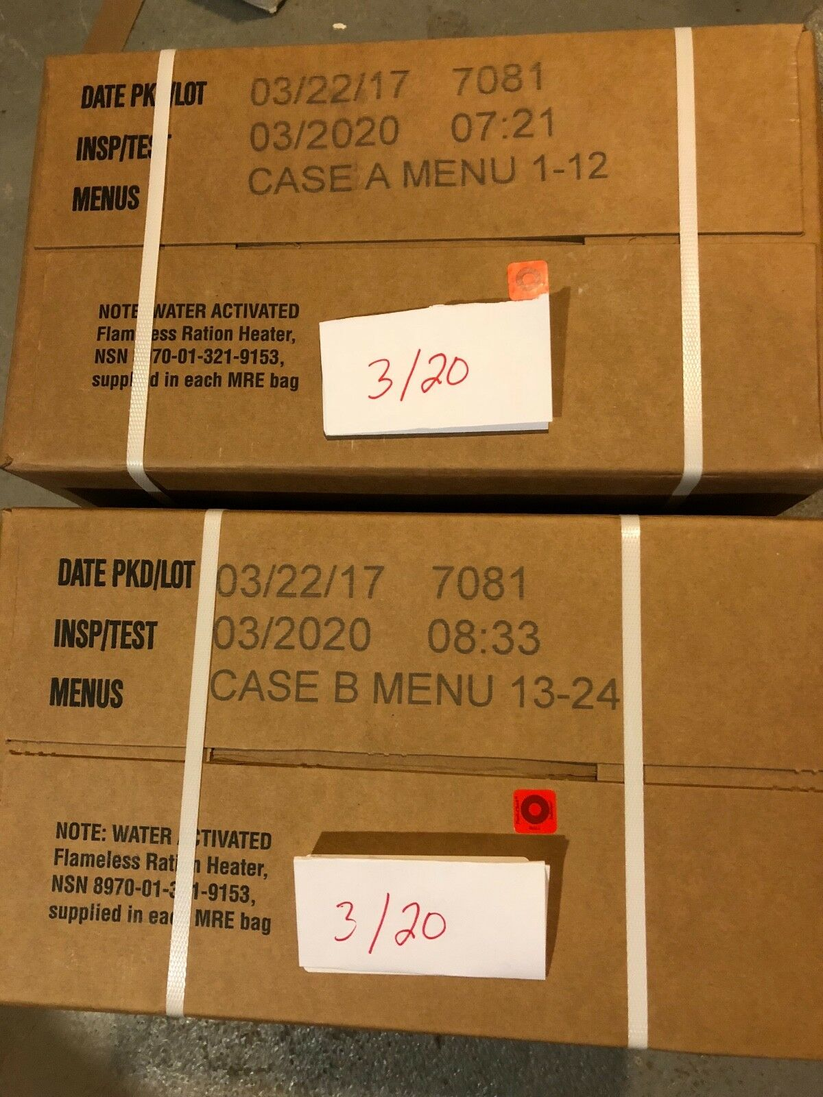 Military  MRE 03 2020 Inspection Date A and B Case  most preferential