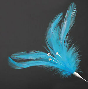 6 PACK OF LIME GREEN REAL FEATHERS WITH DIAMANTES 220mm CRAFT FLORAL DECORATION