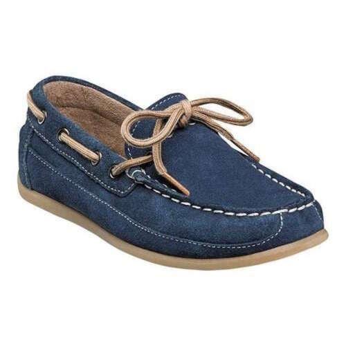 Florsheim Kids Jasper Tie Jr 16610 415 Saddle Navy Suede Boat Shoes