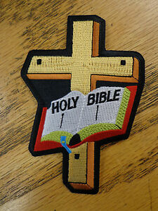 Holy Bible And Cross Christian Saying Vest Patch