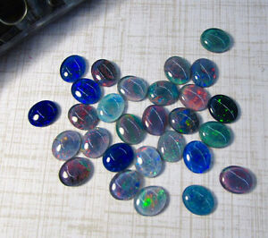 Fiery Australian Opal Cabochon Oval 10mm x 12mm, QTY2, Natural Gemstone Triplet