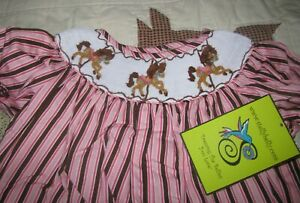 92db0206f Image is loading Stellybelly-Smocked-Carousel-Horses-Long-Bubble-3T-New-