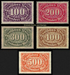 EBS-Germany-1922-Numeral-in-Oval-Definitives-I-Michel-219-223-MNH