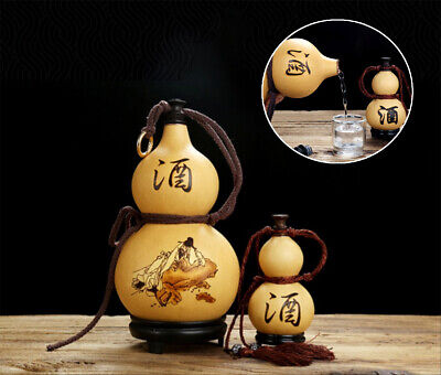 Natural Gourd Drinking Bottle Wine Water Cup Calabash Home Decor Bday Gift #02