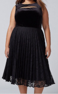 Details About Lane Bryant Sleeveless Black Velvet Lace Midi Dress Neckline Cutout Size 18
