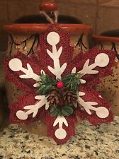 Primitive Country Christmas SNOWFLAKE Ornie Tree Decor Holiday Wreath Swag