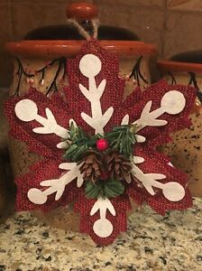 Image Is Loading Primitive Country Christmas SNOWFLAKE Ornament Tree Decor  Rustic
