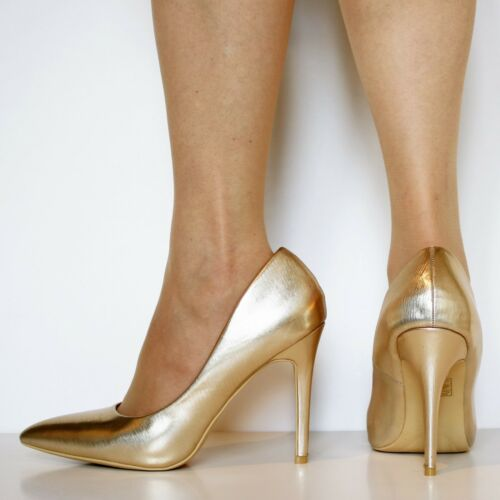 New Womens Party Prom Bridal Metallic Patent Stiletto High Heel Court Shoes-6690
