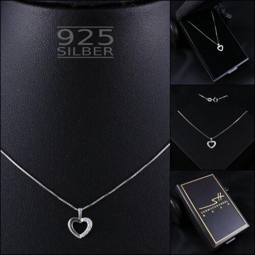 Damen Kette Etui Schmuckhandel Haak® Herzkette Herz Halskette 925 Sterling