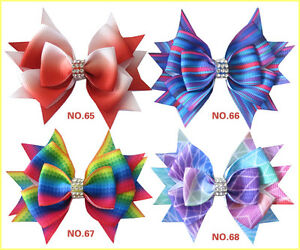 "50 BLESSING Good Girl Boutique 3.5/"" Rainbow Stylish Hair Bow Clip"