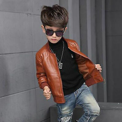 New Boys Kids Leather Fleece Lined Jacket Winter Warm Thicken Motorcycle Coat