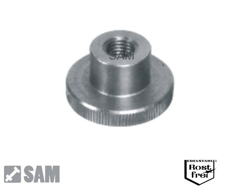 Rändelmuttern hohe Form DIN 466 Edelstahl A1 - Material 1.4305 M2 bis M10