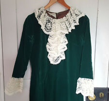 1970's vintage green velvet maxi dress with lace ruffle. Size 10. Charmont model