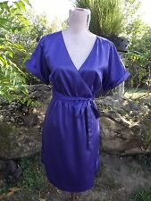 BANANA REPUBLIC Sz 6 Purple Satin Wrap Dress Short Sleeve Career Office PERFECT