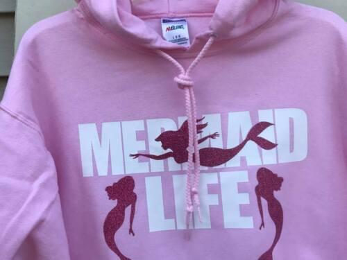 Custom Made MERMAID LIFE Pink or Blue GLITTER BLING Hoodie