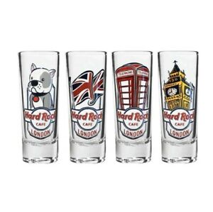 Super-ScarceRare-2020-UK-Hard-Rock-Cafe-4-Shot-Glass-Pack-Union-Jack-Cordial-Set