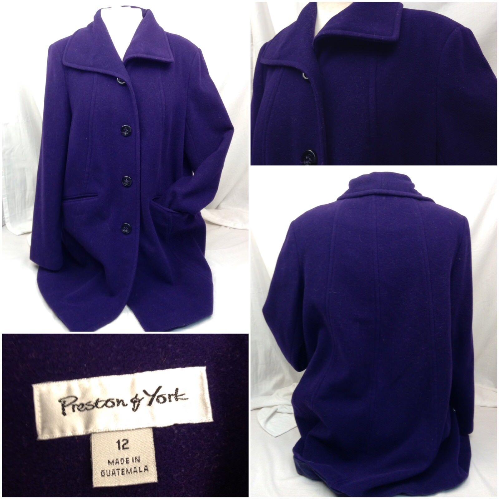Preston & York Coat 12 Purple Purple Purple Peacoat 4 Button Mint A167 df8183