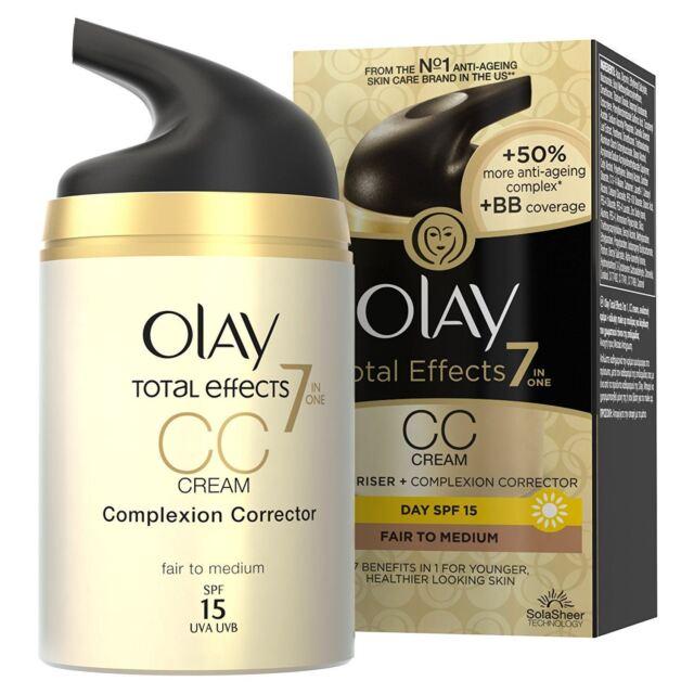 Olay Total Effects Colour Correction Cream Moisturiser SPF15 Fair To Medium 50ml