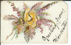 CG-112-MA-Worcester-Greetings-from-Divided-Back-Postcard-Mica-Glittered