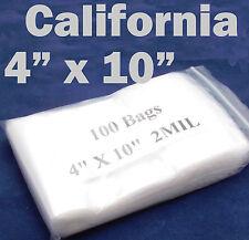 "100 x Reclosable 4"" x 10"" Zip Lock Clear Bags Poly Plastic Ziplock 10 x 26 cm"