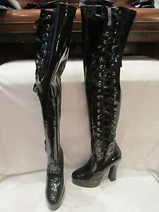 pleaser black patent synthetic over the knee high heel