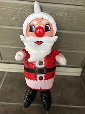 """Vintage Vinyl Plastic Inflatable Santa Claus 1960s Decoration Blow Up Toy 24"""""""