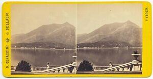 Bellagio Panorama Lago di Como Foto stereoscopica albumina Genazzini 1880 S1401