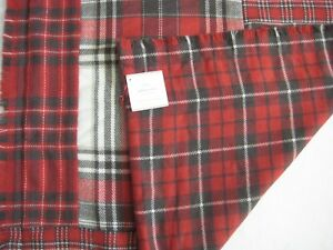 NEW Pottery Barn Red MCKINLEY PLAID Tartan Stag Pillow Cover 24x24 *christmas