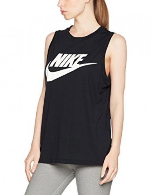 b92926e0df591 Nike Women Sportswear Muscle Tank Top Exploded Logo Mesh Black XS 868255  010 for sale online