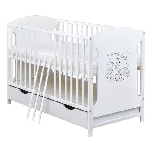 Babybett Kinderbett Gitterbett 120x60 Weiß Bärchen Schublade Matratze