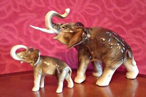 Vintage-039-Royal-Dux-039-Elephand-Mother-with-Baby-Porcelain-Figurines