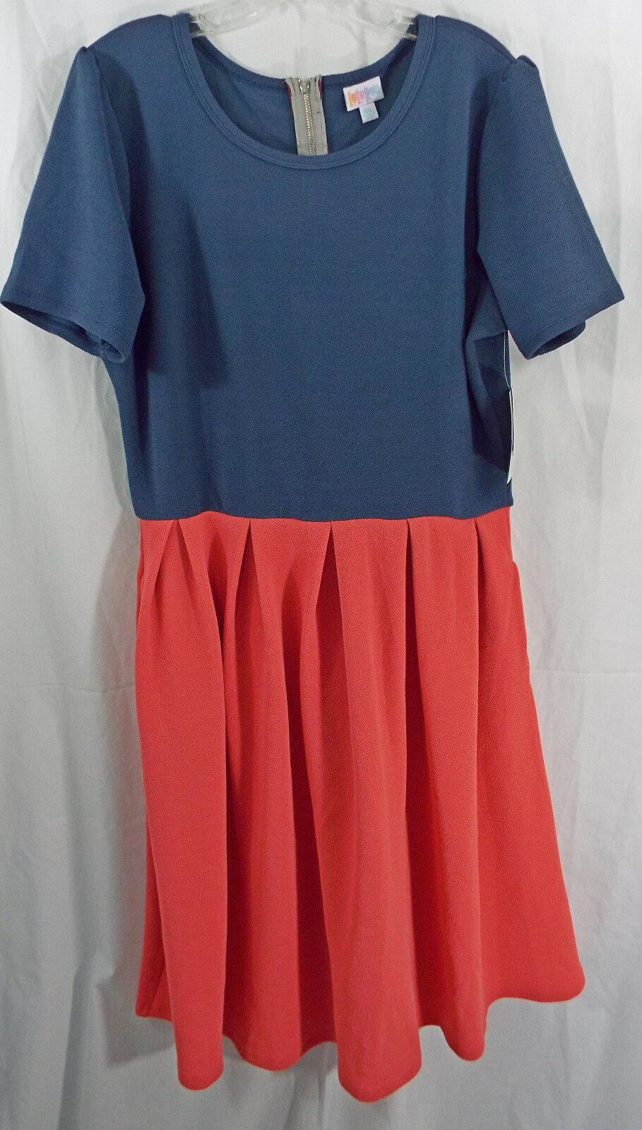 damen LuLaRoe Dress 2XL Amelia Dark Blau Dark Salmon Rosa Texturot NWT