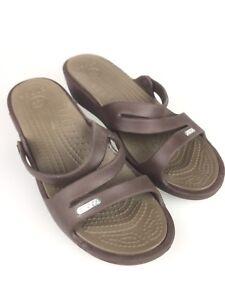 5c61c0cad2c6 Crocs Womens Brown Slip-On Strappy Wedge Slides Summer Beach Sandals ...