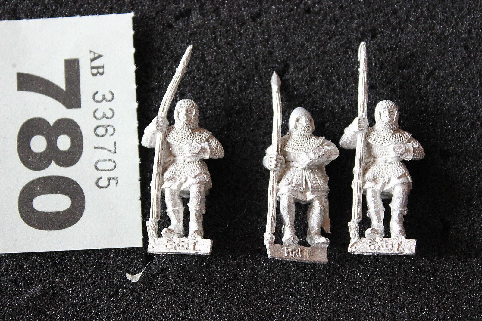 Games Workshop Warhammer Bretonnian Men at Arms Spearmen x3 Metal Figure OOP
