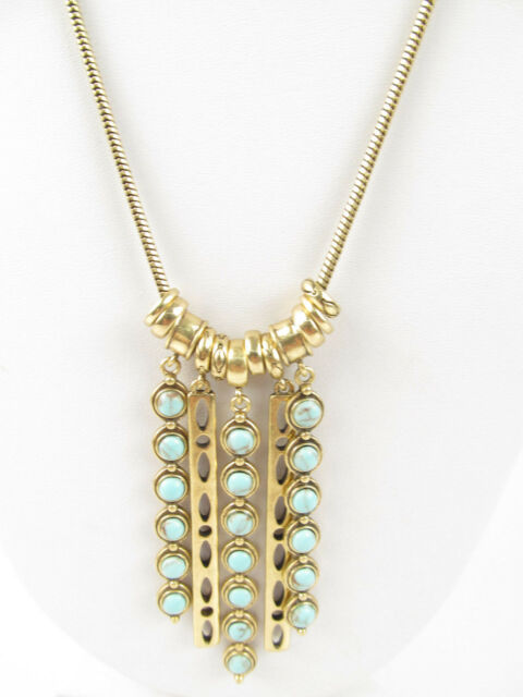 Lucky Brand Gold Tone Turquoise Look Bead Stick Pendant Necklace