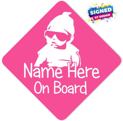 Personnalisé Bébé à Bord Voiture Signe ~ bébé dans Sunnies rose avec blanc