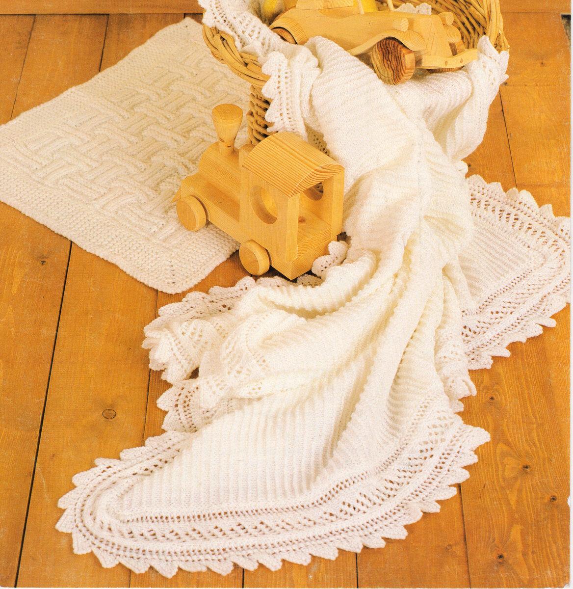 Baby Shawl//Blanket Chunky DK /& Pram Cover Vintage  Knitting Pattern Copy