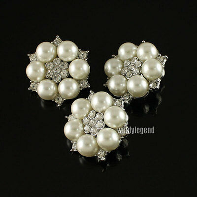 5 Clear Rhinestone Flower Faux Ivory / Cream Pearl Silver Tone Shank Buttons