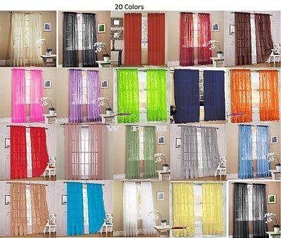 "1 Piece Sheer Voile Window Curtain Panel drape-more than 15 colors short 55""x63"""