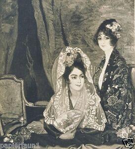 In der Loge Kunstdruck von 1936 Ignaz Zuloaga EIbar Impressionismus Schleier
