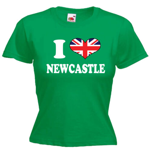 I Love Heart Newcastle Ladies Lady Fit T Shirt 13 Colours Size 6-16